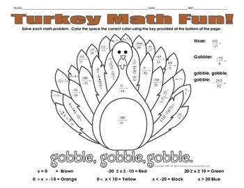 Thanksgiving Math Fun Coloring Worksheet Work Stuff