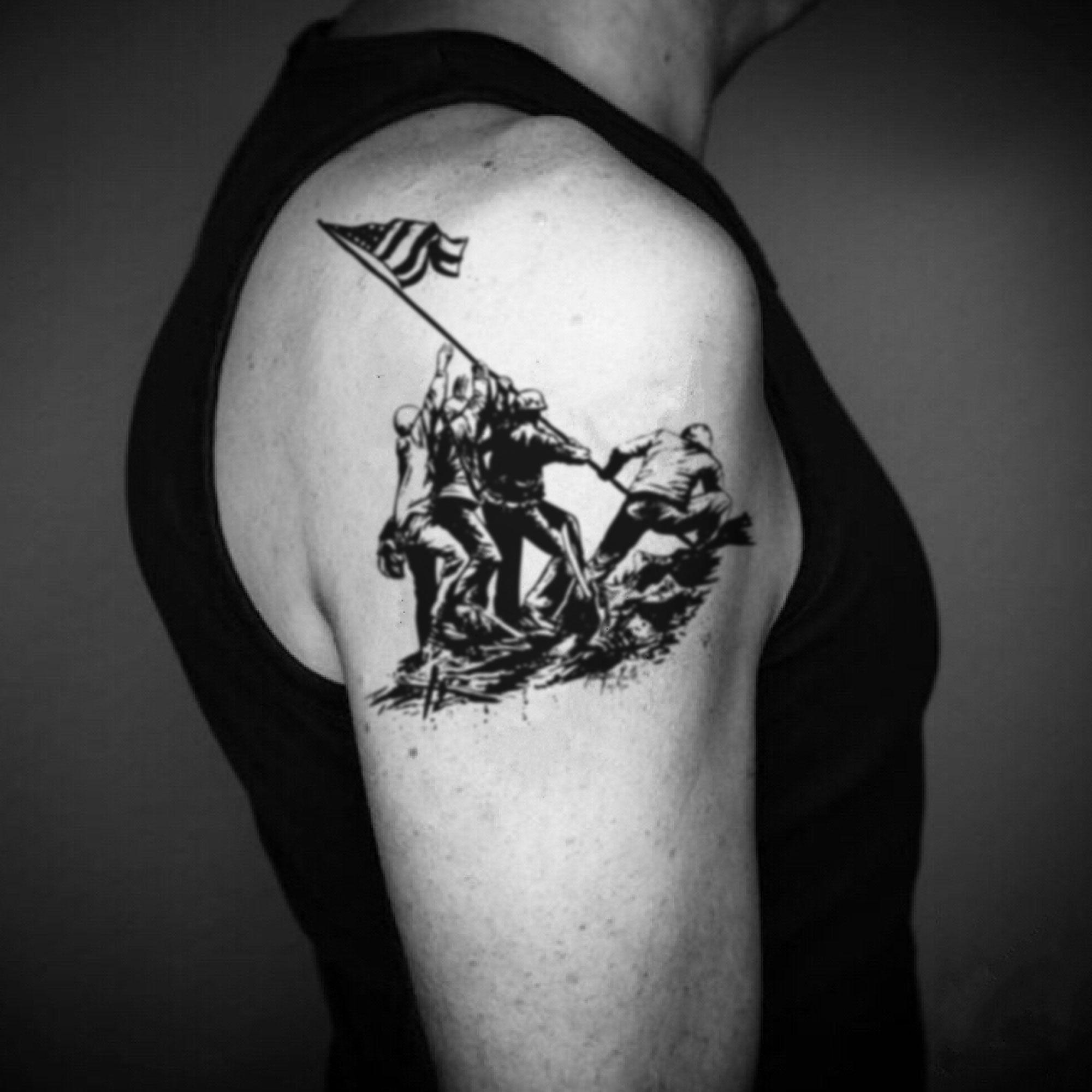 Iwo Jima Flag Raising Temporary Tattoo Sticker (Set of 2
