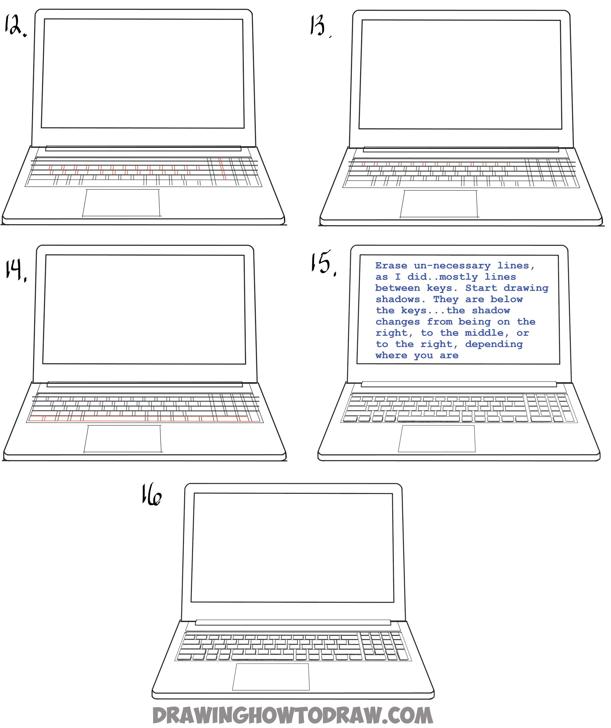 How To Draw A Computer Laptop Using One Point Perspective In Easy Steps Tutorial One Point Perspective Point Perspective How To Draw Steps