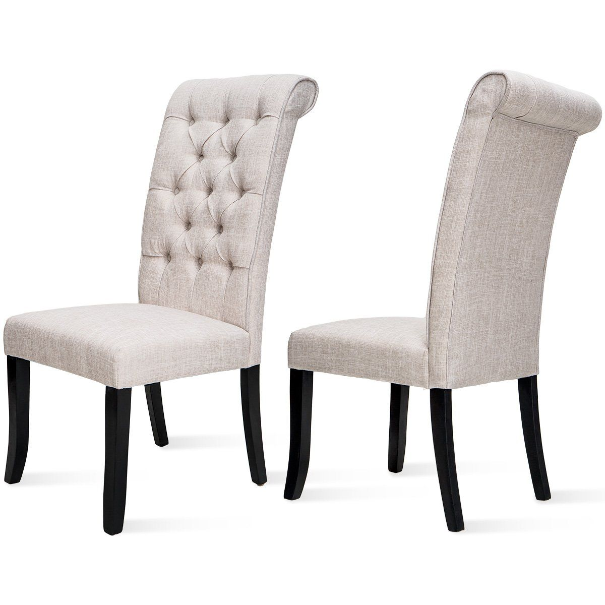 Harper&Bright Design Tufted Arm Dining Accent Chair, Set
