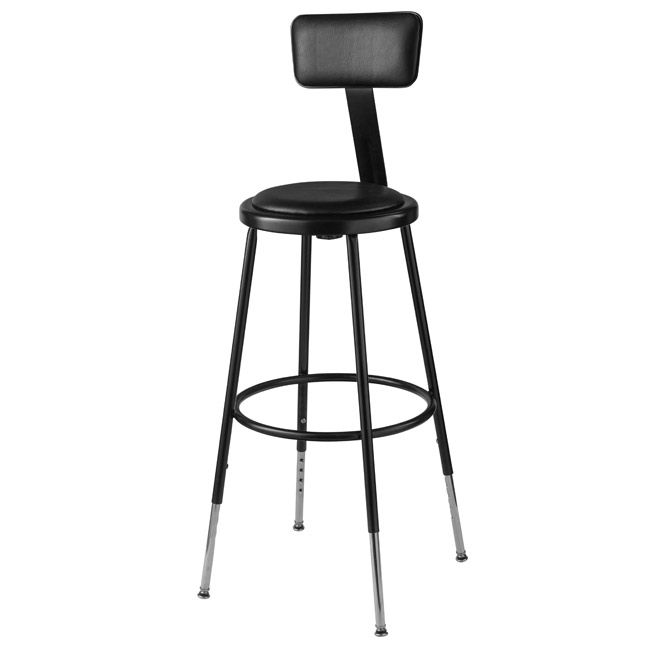Peachy Black Padded Steel Stool Adjustable 25 33 H W Backrest Andrewgaddart Wooden Chair Designs For Living Room Andrewgaddartcom