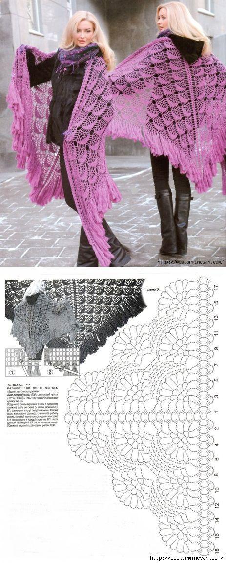 Шаль | My next projects | Pinterest | Croché, Ganchillo y Chal