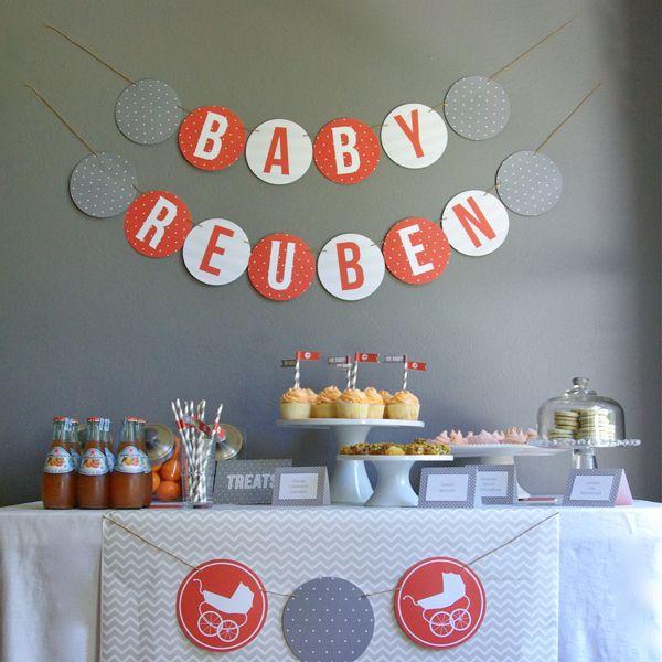 Baby Shower Themes Modern ~ Modern grey and orange baby shower inspiration