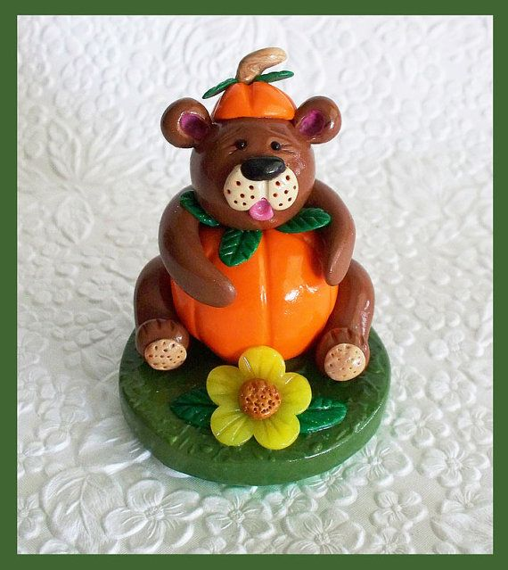 Halloween Pumpkin Bear Figurine made with by RFColorfulCreations, $9.00