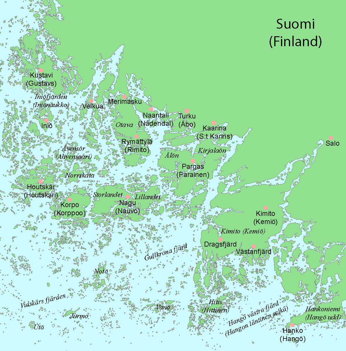 Map Of The Archipelago Sea East Of Åland Island Finland MAPS - Aland islands political map