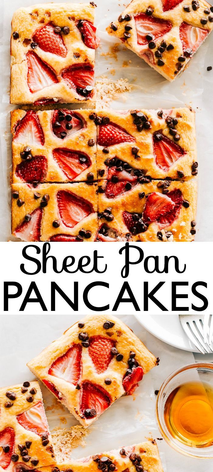 Sheet Pan Pancakes - Golden, fluffy, and delicious giant pancake baked in the oven! Sheet Pan pancakes are perfect for feeding a crowd and they are ready in under 30 minutes. #pancakesfromscratch #sheetpanpancakes #breakfastideas #sheetpansuppers
