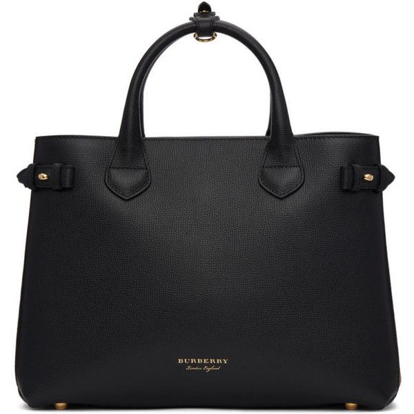 Burberry Black and Tan Medium Banner Tote ($1,600) ❤ liked on Polyvore  featuring bags
