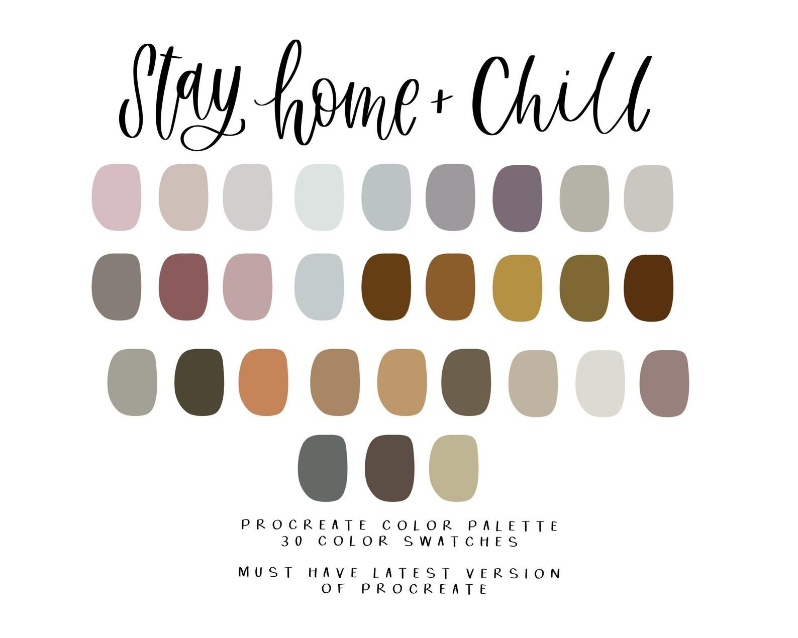 Stay Home Chill Procreate Color Palette Procreate Instant Etsy In 2020 Color Palette Color Palette Design Palette