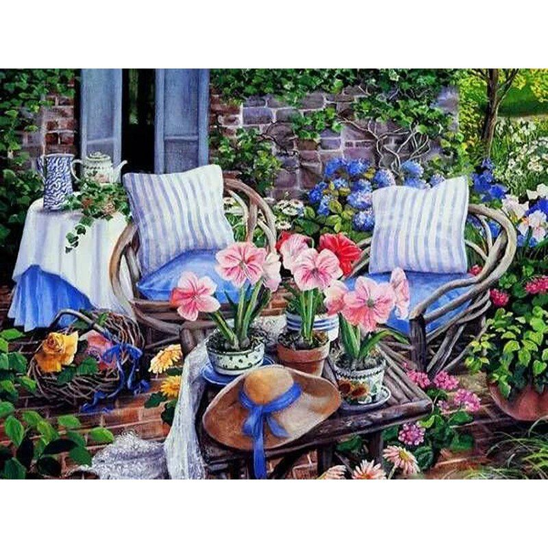 Photo of ArtSailing diy paintings by numbers Beautiful Balcony chairs Scenery coloring pi…