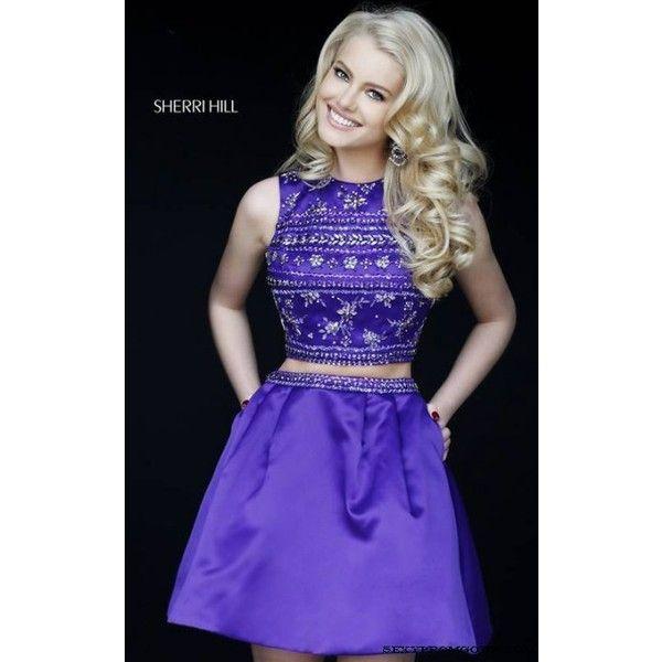 2015 Two Piece Homecoming Dress Purple Sherri Hill 32269 (1,665 CNY) via Polyvore