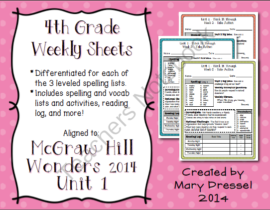 Mcgraw Hill Wonders 4th Grade Unit 1 Weekly Spelling