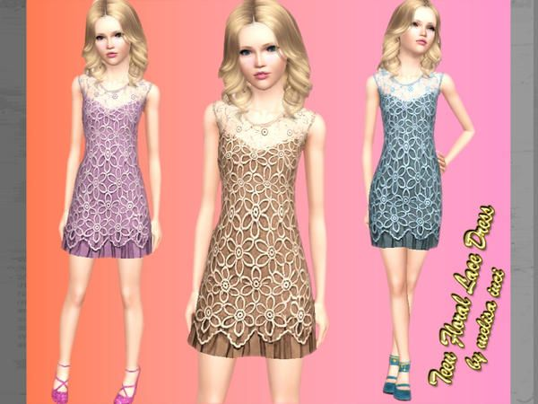 Floral Lace Dress for Teen by Melisa Inci  http://www.thesimsresource.com/downloads/1183584