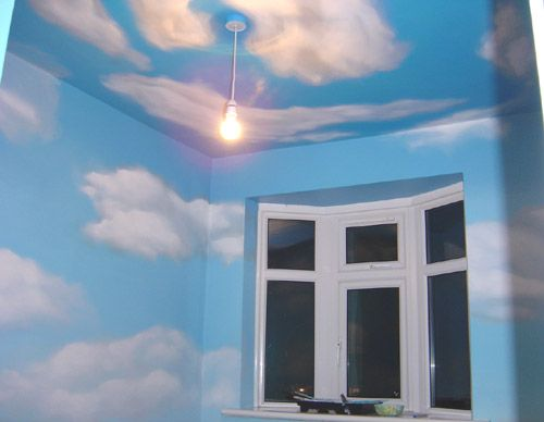 Clouds mural for the playroom also great for a toy story for Ceiling cloud mural