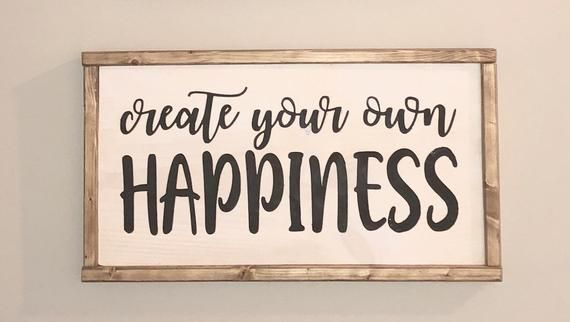 Create your own happiness inspirational home decor rustic wood sign bog road designs also rh ar pinterest