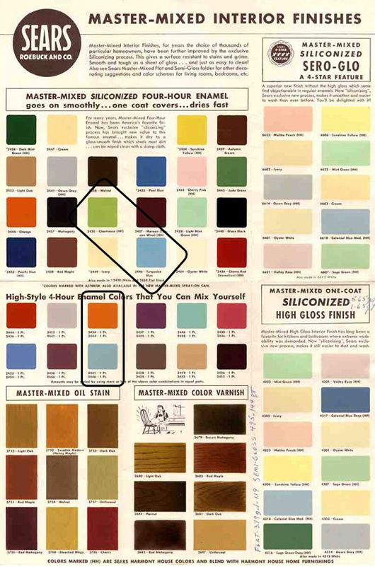 1950s And 60s Paint Colors From Sears Clic Harmony House Collection Garden Mid Century Midcentury Modern