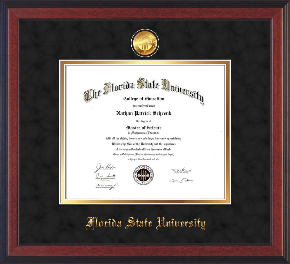 Florida State University Diploma Frame Cherry Reverse W 24k Gold Plated Medallion Fsu Name Embossing Black Suede On Gold Mats Diploma Frame Florida State University University Diploma