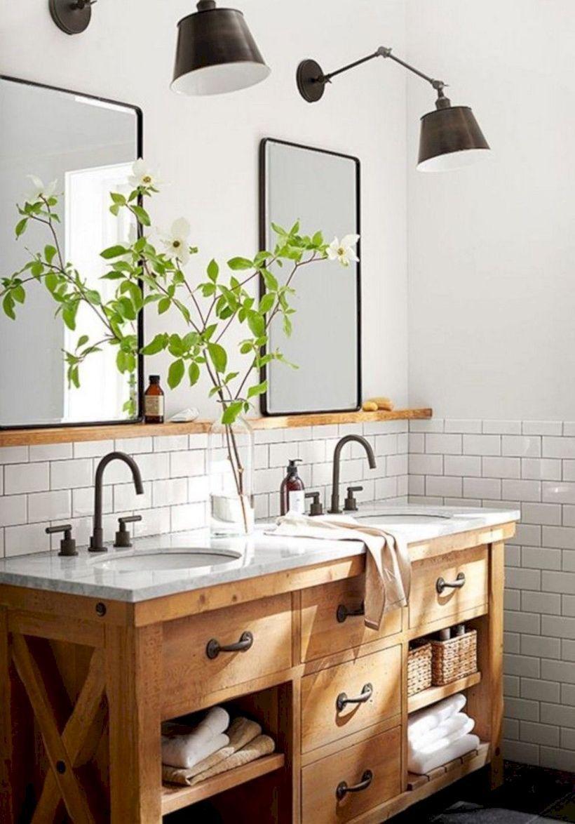 47 Comfy Farmhouse Bathroom Decor Ideas With Rustic Style Bathroom Interior Farmhouse Bathroom Decor Bathroom Lighting Design