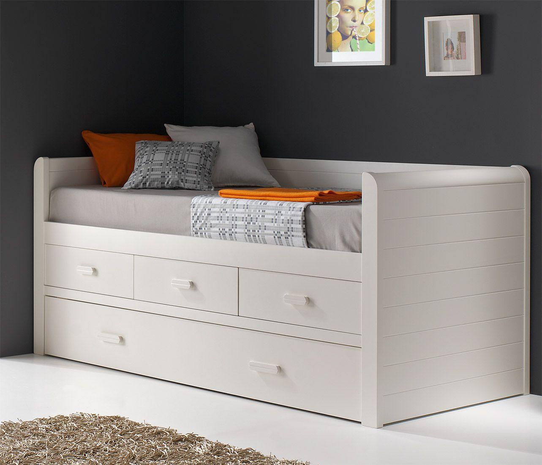 cama compacta blanca con cajones lacada mod valencia