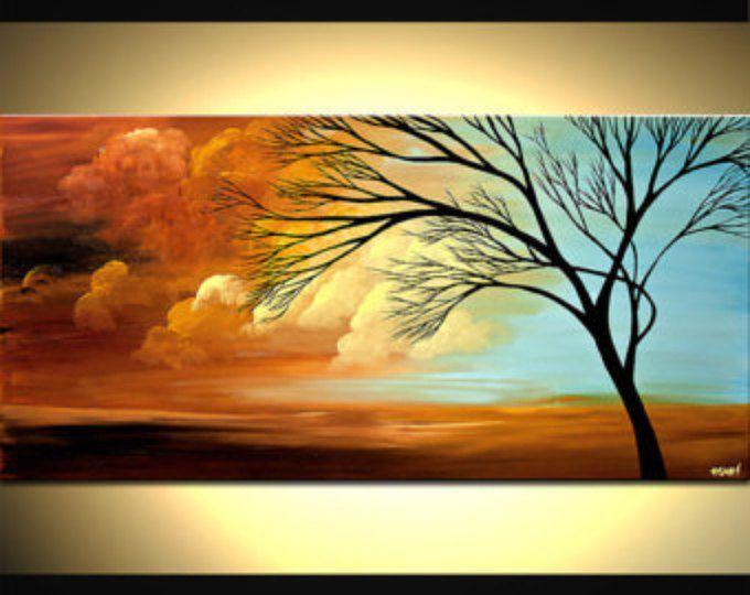 Zeitgen ssische baum acryl malen bunte landschaft malerei acryllandschaft pinterest acryl - Bunte bilder auf leinwand ...