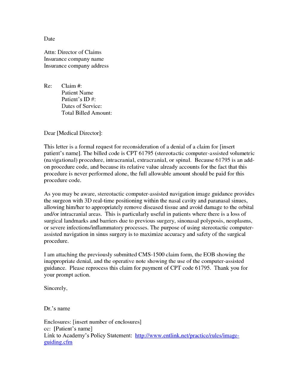 Formal Claim Letter Sample Letters Insurance Appeal ...