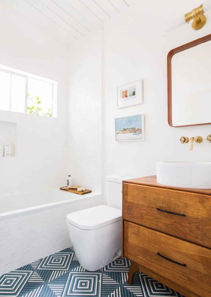 Emily Henderson Guest Bathroom Redesign Reveal After Photos Tile Mid Century-265