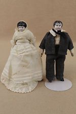 "6"" dollhouse miniature antique German China Head cloth lady & man doll couple"