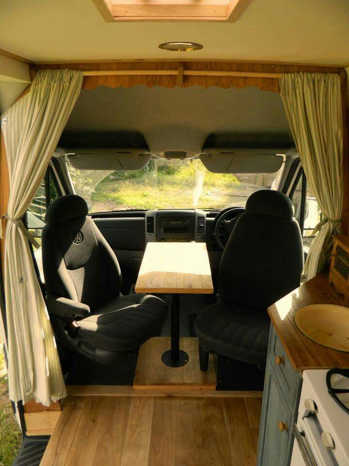Captains Chairs And Table With Images Camper Van Kitchen
