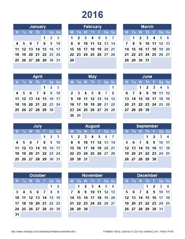 download a free printable 2016 yearly calendar from vertex42com