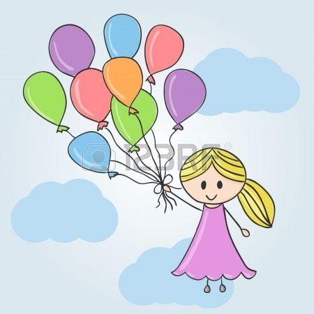 Ilustracion De Una Nina Con Globos Y Nubes Estilo De Dibujo Estilos De Dibujo Ninos Con Globos Globos
