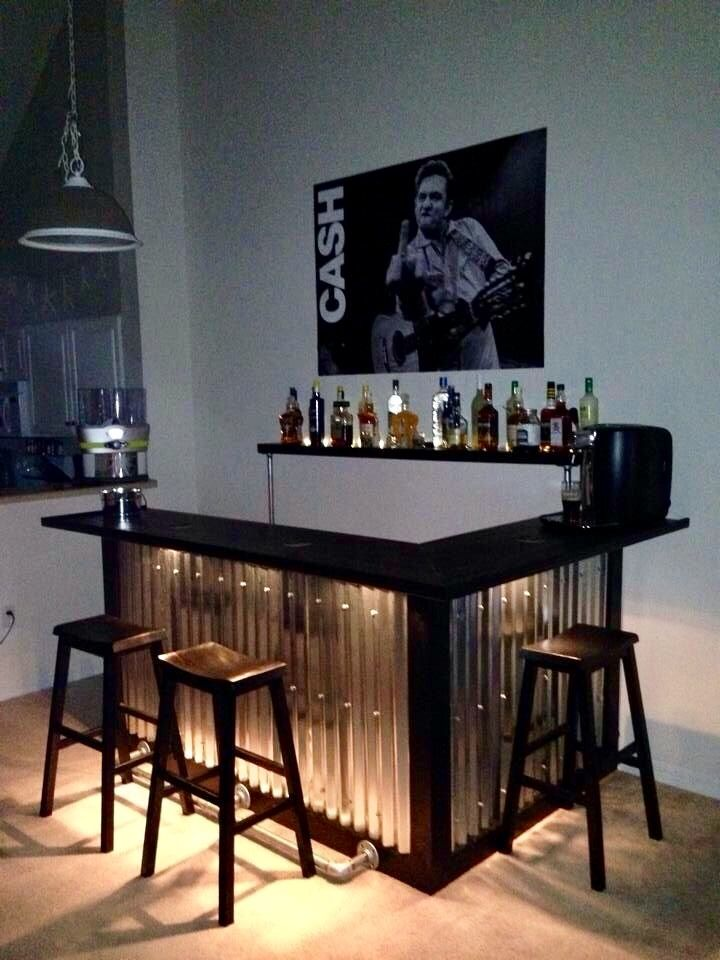 Wood Corrugated Bar Idea Home Bar Decor Bars For Home Home Bar Designs