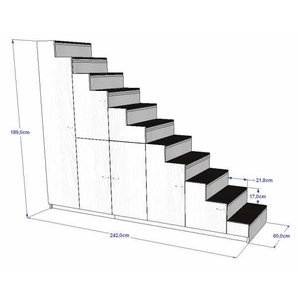 meuble escalier pour mezzanine avec rangements sur mesure - Mezzanine Sur Mesure