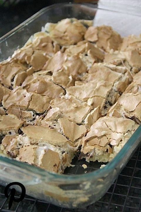 Mud Hen Bars a Gooey Chocolate Chip Marshmallow bar topped with Brown Sugar Meringue Mud Hen Bars a Gooey Chocolate Chip Marshmallow bar topped with Brown Sugar Meringue