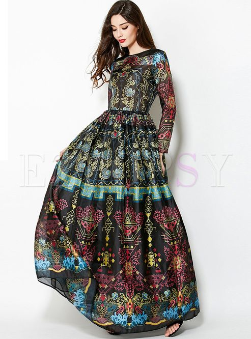 ddb5e0f183ad Shop for high quality Vintage Floral Print Big Hem Waist Maxi Dress online  at cheap prices and discover fashion at Ezpopsy.com