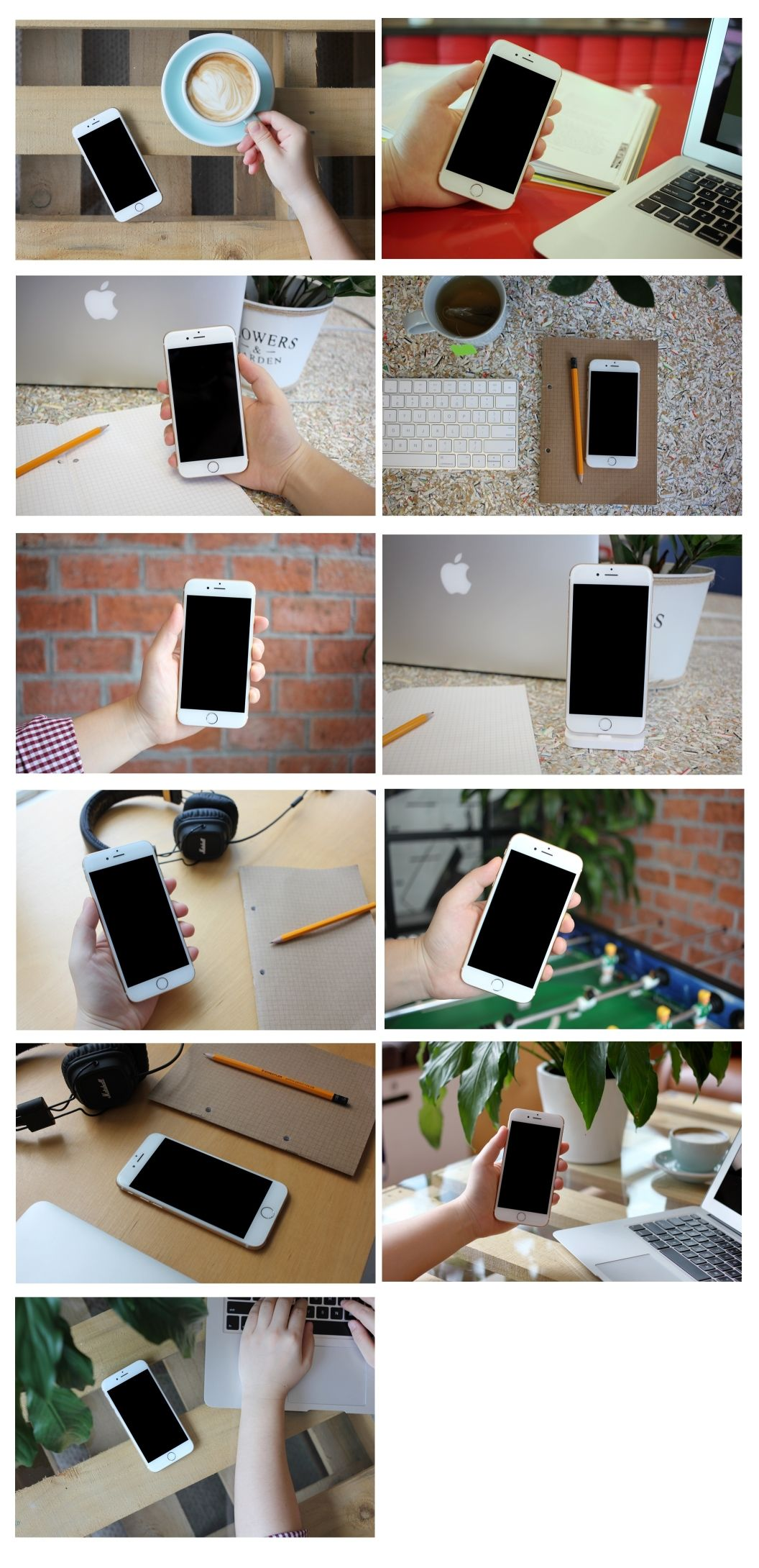 11 Perspective iPhone 6 mockups in a coworking atmosphere