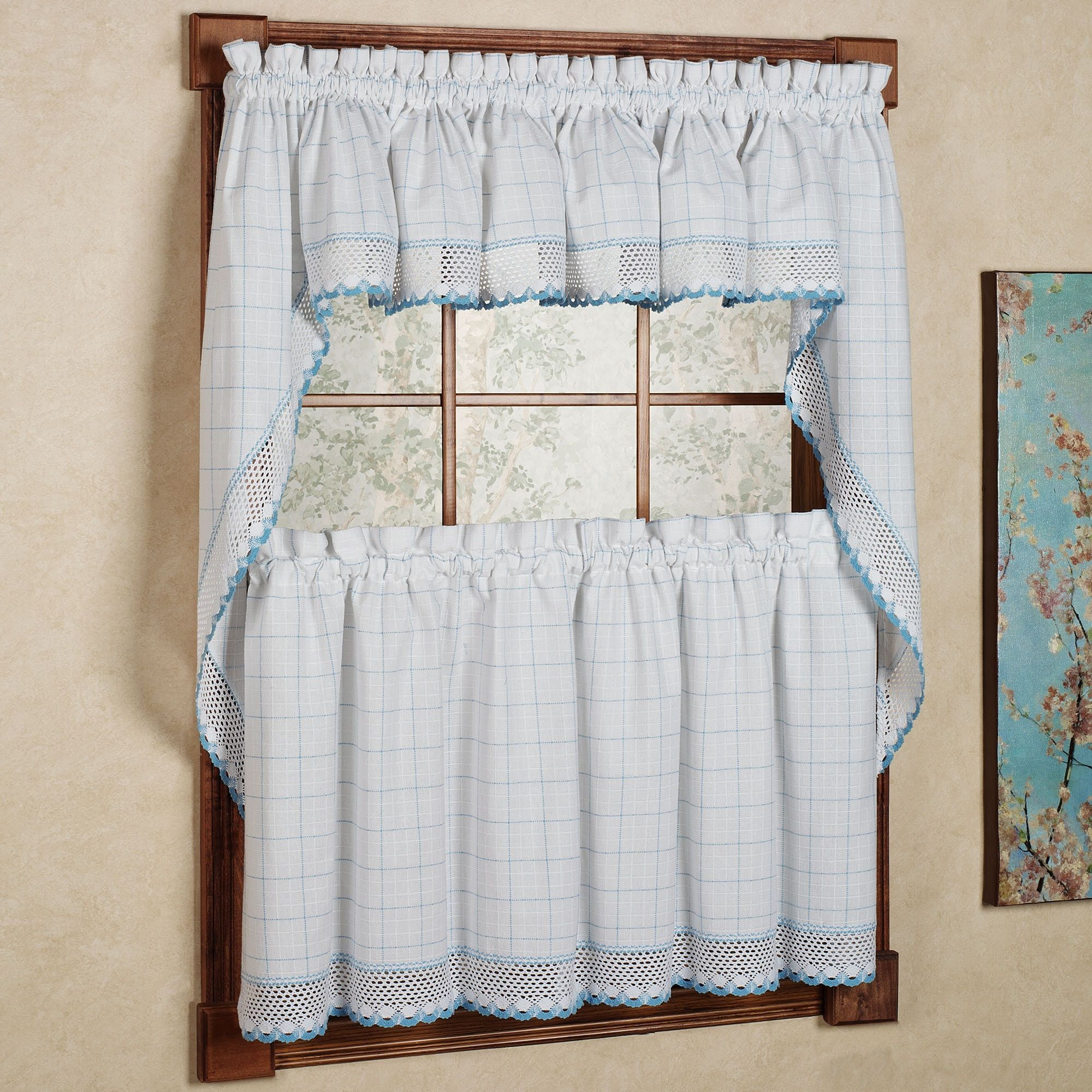 N 100 Percent Cotton Classic Blue Window Pane Pattern And Crotchet