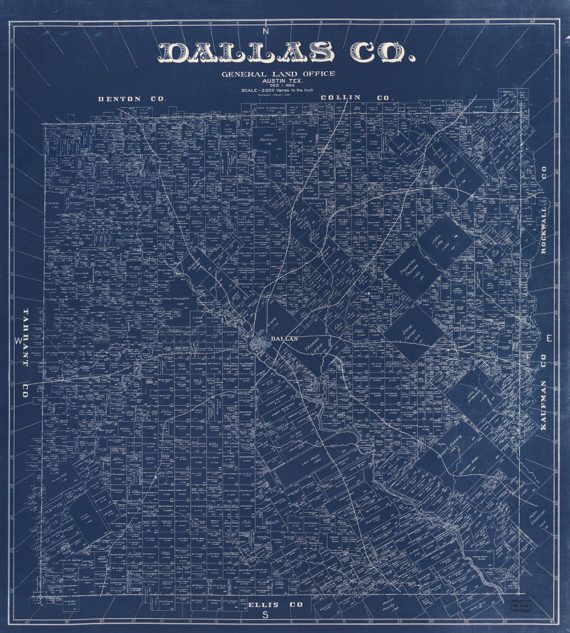 Blueprint map of dallas from 1884 canvas print dallas unique blueprint map of dallas from 1884 printed on canvas at 36x40 or 18x20 very malvernweather Image collections