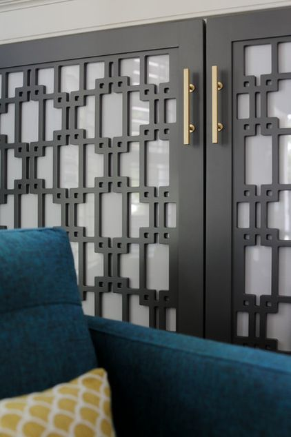 Screen A Bookcase With Cabinet Doors. Designer Minhnuyet Hardy Had A Mod  Pattern Laser Cut Into Wood Panels And Then Backed The Panels With Opaque  Acrylic.