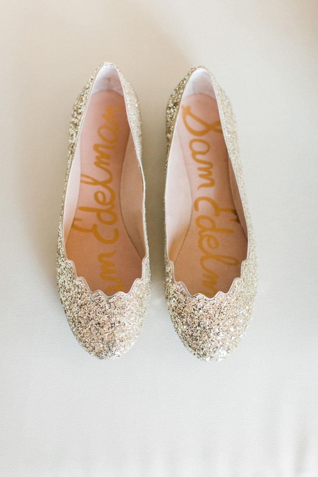 Wedding shoes, gold flats, sparkly, scalloped sparkles