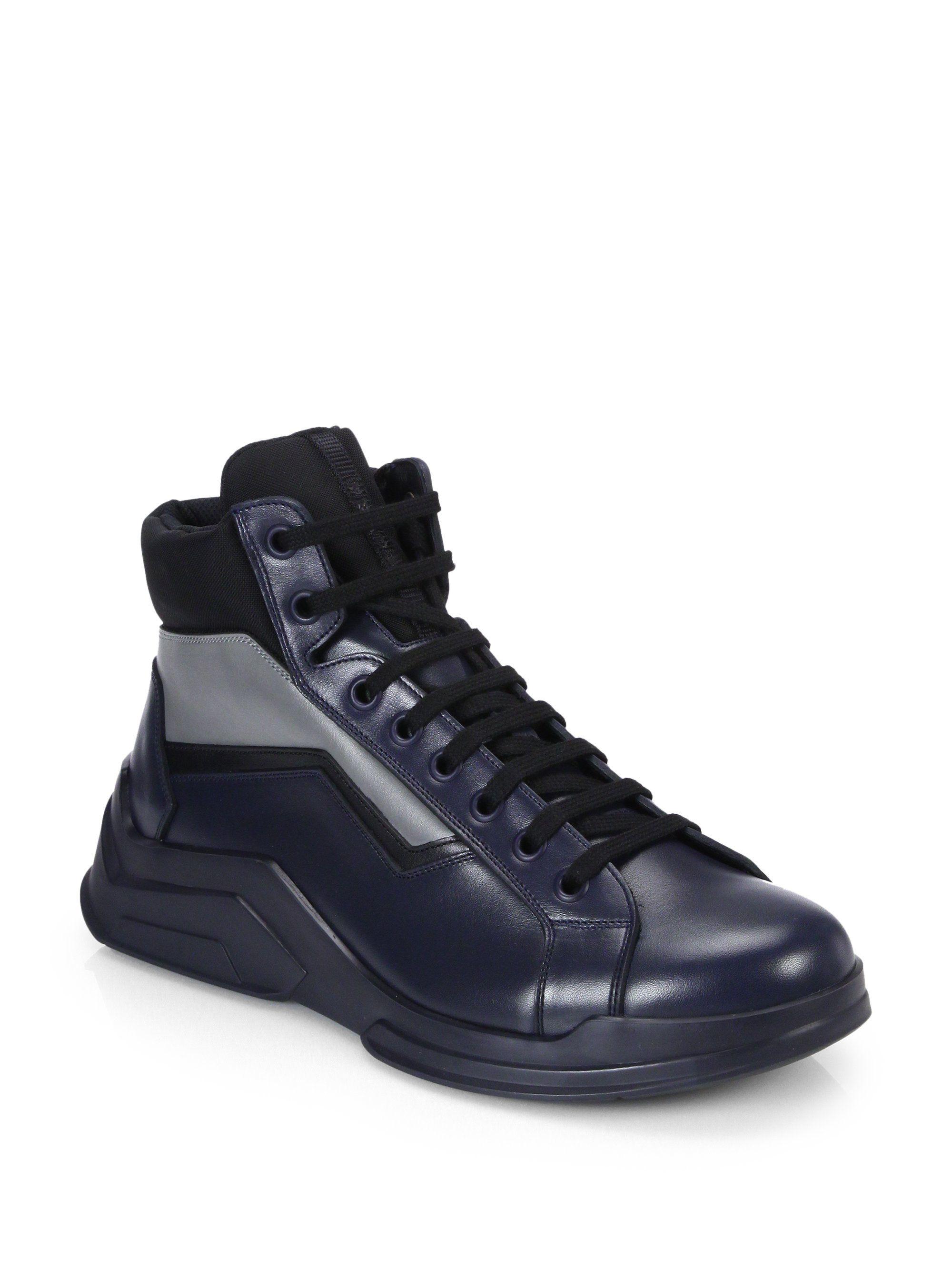Prada Leather High Trainers AYmuv9trh5