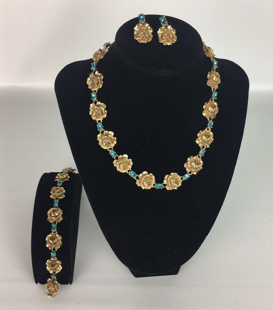 Vintage retro gold tone flower necklace bracelet earrings set blue