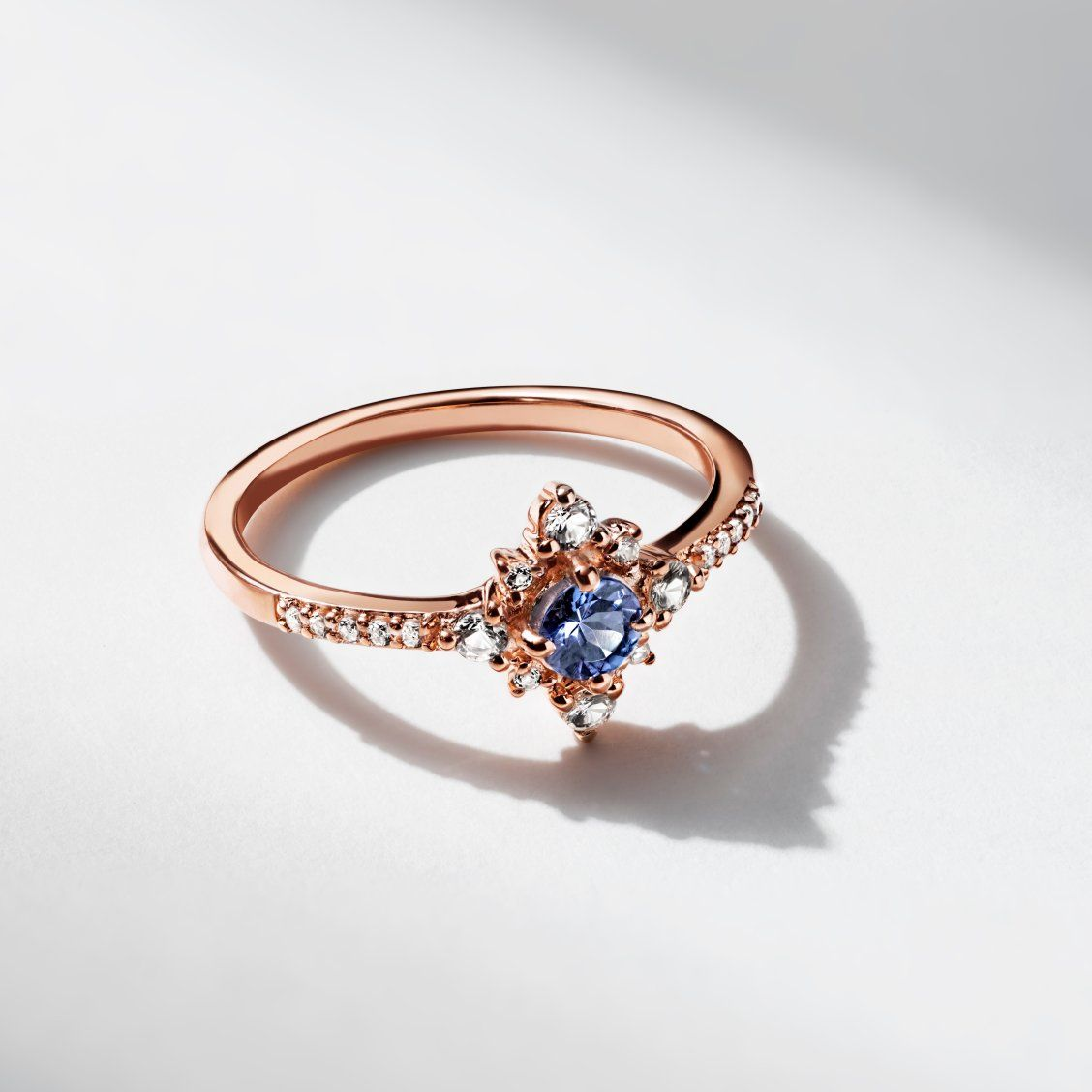Tanzanite White Topaz Ring 10k Rose Gold Kay In 2020 Wedding Rings Vintage White Topaz Rings Wedding Rings Halo