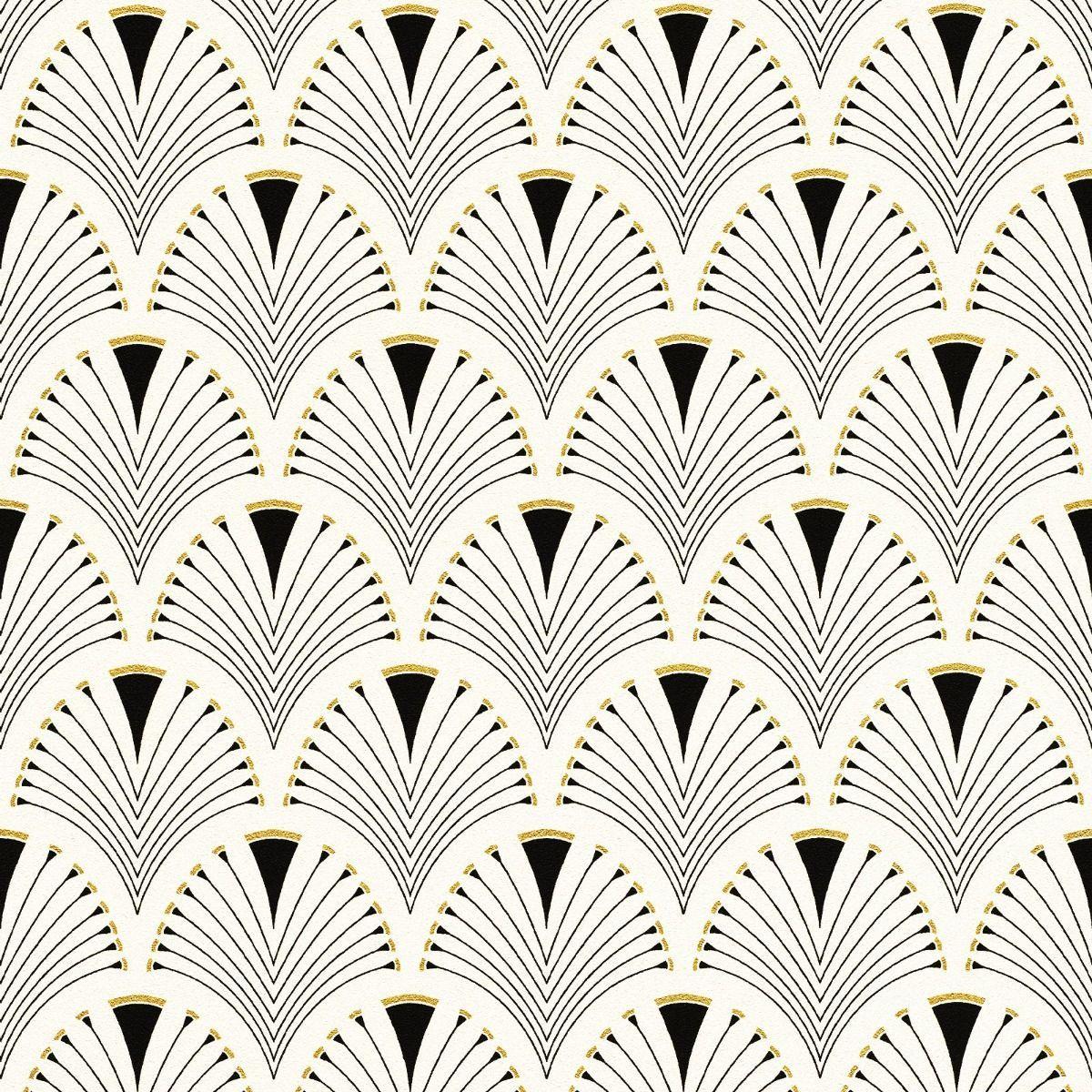 Modern Art Art Deco Fan Wallpaper Black / Gold Rasch