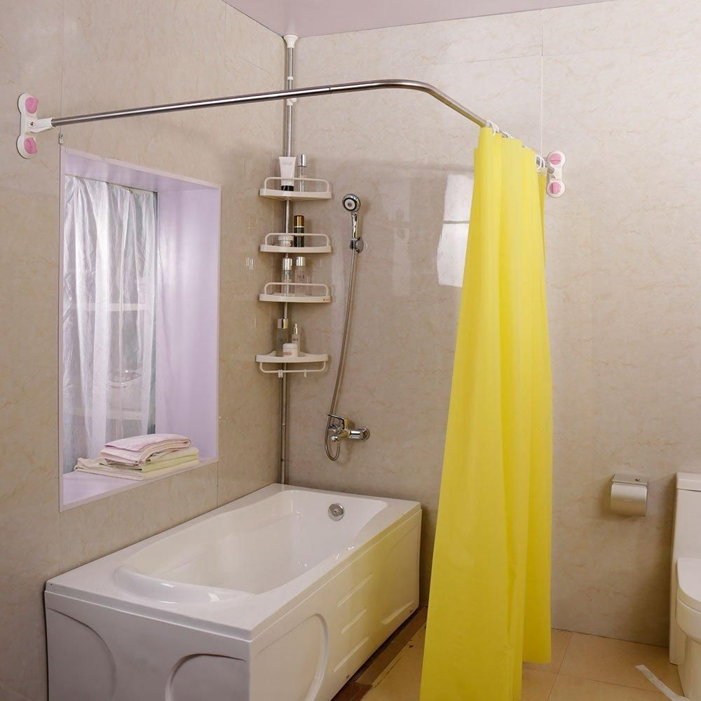 L Shaped Shower Curtain Rod Suction Cups Corner Bath Curtain Rail