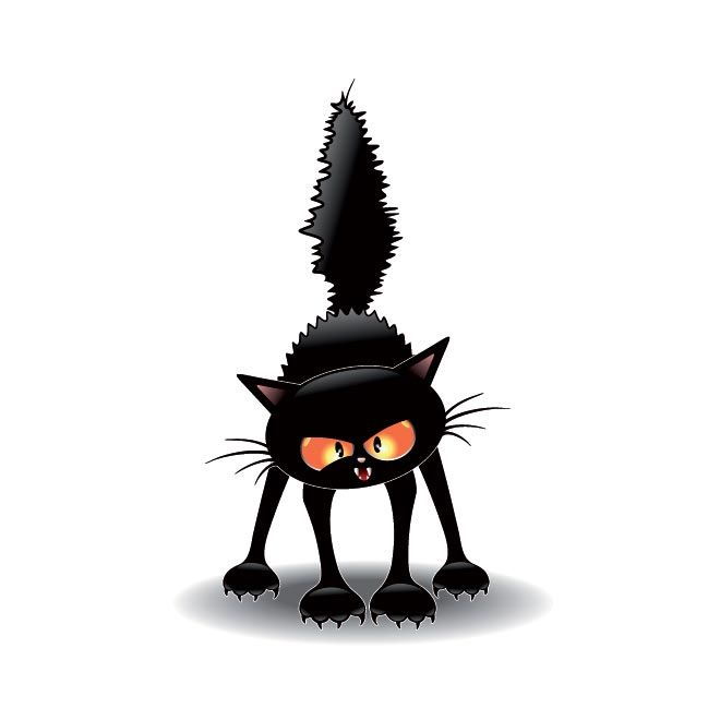 Free Vector witch scary cat scathing floor illustration ...