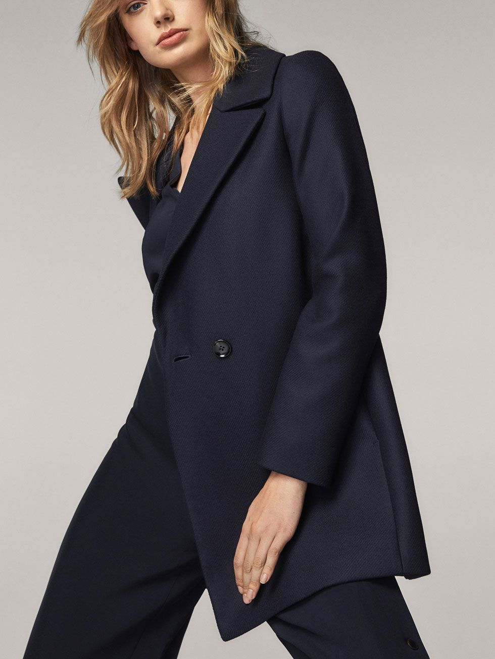 f9d44280a57b Spring Summer 2017 Women´s NAVY BLUE WOOL COAT at Massimo Dutti for 2590.  Effortless elegance!