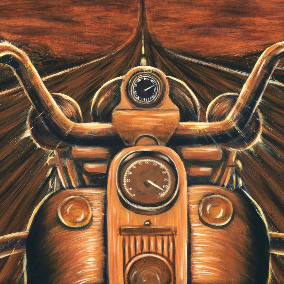 Harley Davidson Painting Sunset Painting Motorcycle Art