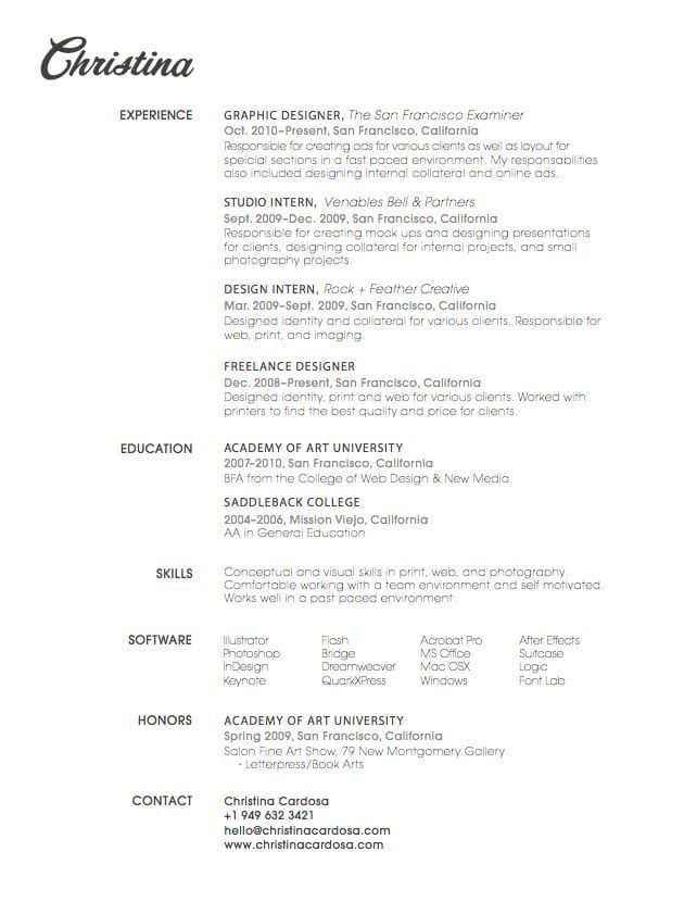 27 Beautiful Résumé Designs Youu0027ll Want To Steal All you need is - best font for cv