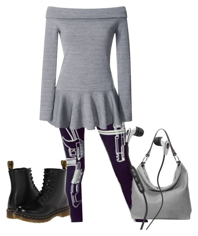 """gun leggings"" by greene1250 ❤ liked on Polyvore featuring moda, Rodarte, Dr. Martens, Ellington i Skullcandy"