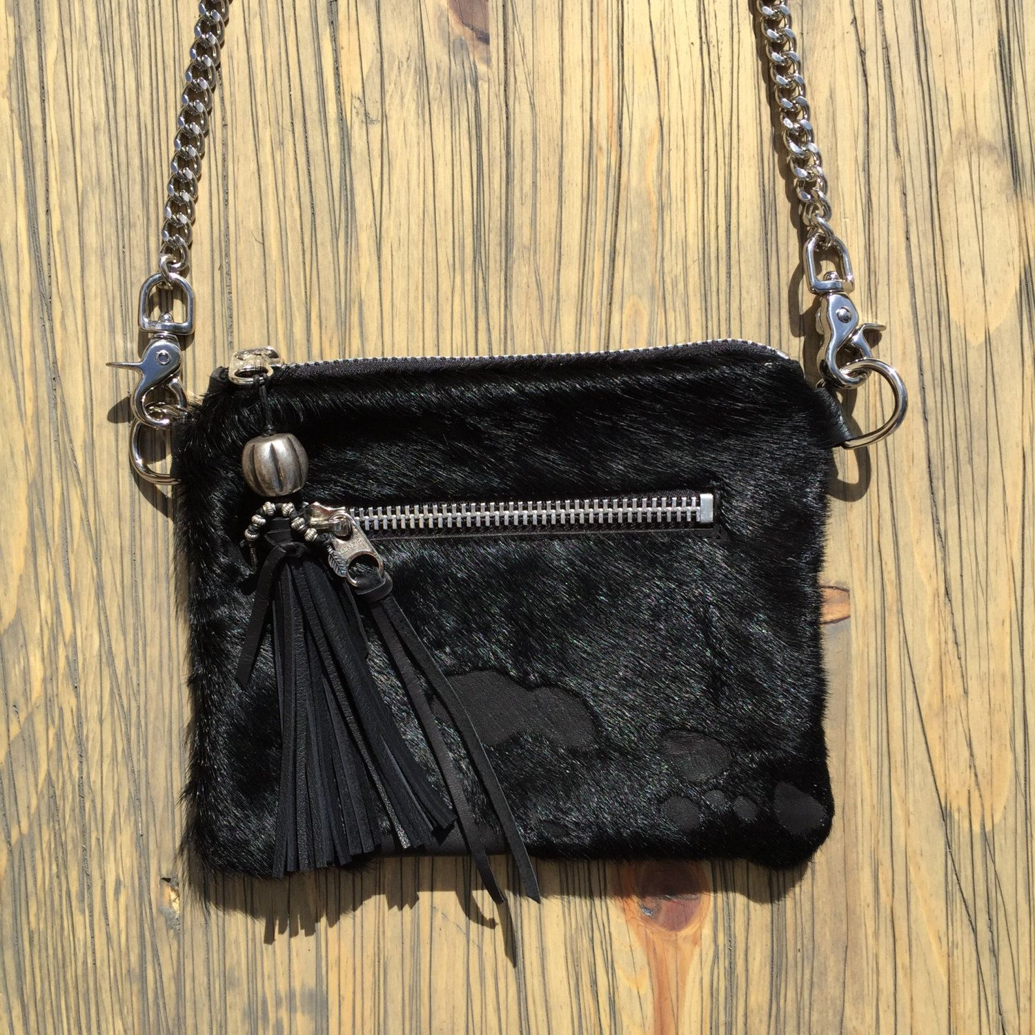 Acid Washed Black Hair On Cow Hide Cross Body Clutch Hip Bag