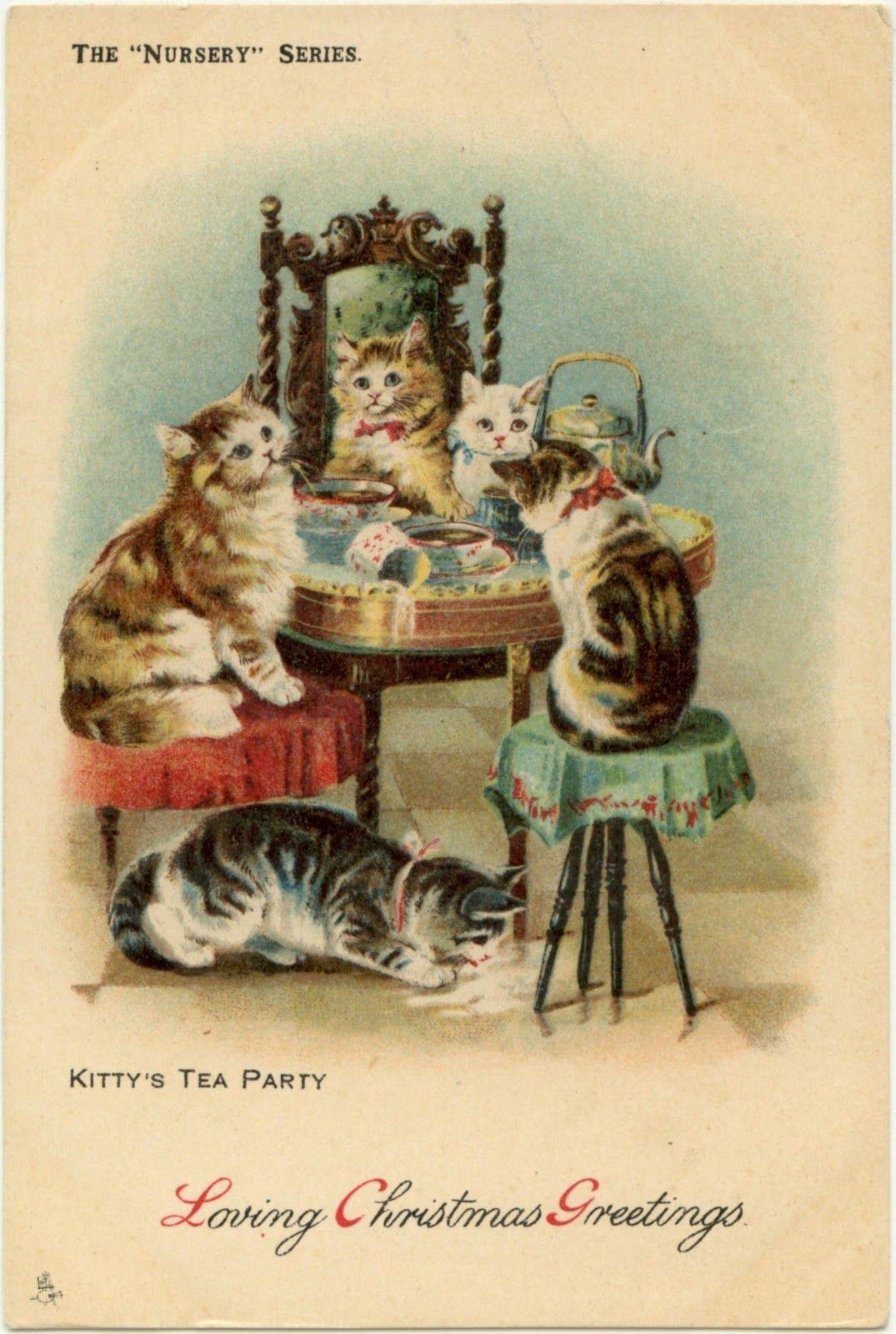 Too adorable Vintage postcard of kitty tea party